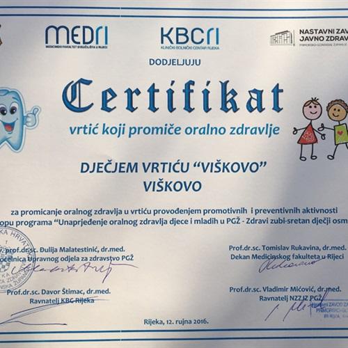Dječji vrtić Viškovo dobio certifikat za promicanje oralnog zdravlja
